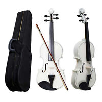 4/4 Full Size Acoustic Violin Fiddle with Case Bow Rosin White Color