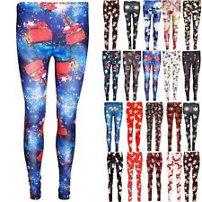 Womens Ladies Gingerbread Xmas Gift Tree Cap Printed Christmas Stretchy Leggings