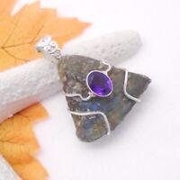 Labradorit Druse Amethyst lila Design Anhänger Amulett 925 Sterling Silber neu