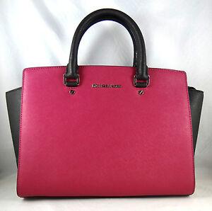 Michael Kors Selma Colorblock Deep Pink Leather Large Satchel Bag