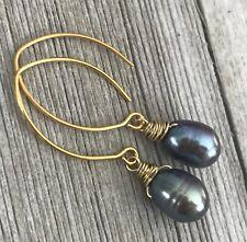New listing Min Favorit Peacock Pearl & Gold Pl Artisan Almond Drop Earrings New!