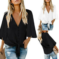 Women Solid V-Neck Three quarter Sleeve Bandage Loose Blouse Ladies Top Shirt US