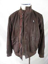 Steven Alan brown washed leather bomber military flight jacket Large