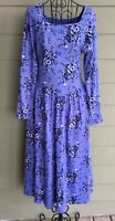 Vintage Laura Ashley Cotton Floral Tea Dress Boho Prairie Purple Blue Size Small