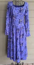 Authentic Vintage Laura Ashley Cotton Floral Tea Dress Boho Prairie Purple Blue