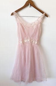 Vintage Slip Small Babydoll Dress Pink Lace Princess Satin Chiffon Vanity Fair
