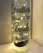 FEATHERS APPEAR WHEN ANGELS ARE NEAR MEMORIAL WINE BOTTLE VINYL DECAL STICKER
