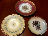"3 Plate Lot Gold Rimmed Limoges France 8.5"", 7""(staple repair), 6""  Plates NICE!"