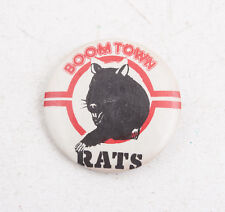 """The Boomtown Rats Vintage Pinback Button 1.75"""" (Wd3) Red White Black Rat"""