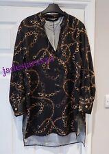 Zara Black Chain Print Tunic Blouse Top XS Extra 6 8 New