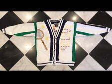 BEREK women's L TENNIS 40 LOVE cardigan sweater HAND-KNIT colorful vtg 1988 80s