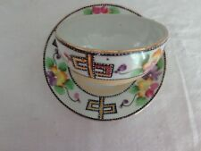 Vintage Nippon Hand Painted Flowers Gold Gilded Cup and Saucer