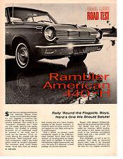 1965 RAMBLER AMERICAN 440-H 232/155 HP ~ ORIGINAL 4-PG ROAD TEST / ARTICLE / AD