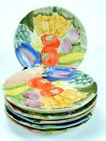 Vintage FITZ AND FLOYD Majolica VEGETABLES Salad Plates Lot of 6