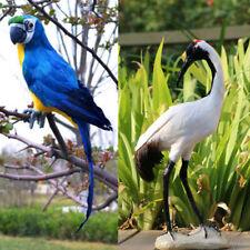 2X lebendige Papagei rot gekrönt Kranich Vogel Skulptur Garten Rasen Outdoor