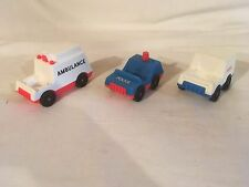 Vintage Fisher Price Little People Ambulance / Police / Mail cars
