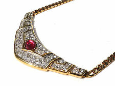 Bijou alliage doré collier haute couture Carven strass et cristal rouge necklace
