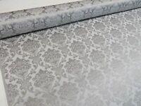 Madagascar Silver Grey Designer Curtain Damask Upholstery Furnishing Fabric