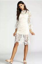 New Free People Floral Crochet Lace La Spezia Dress White  sz small