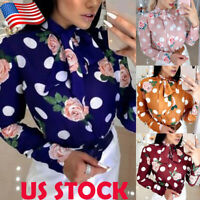 Ladies Womens Tie Neck Pussy Bow Tee Shirt Long Sleeve Floral Tops Tunic Blouse