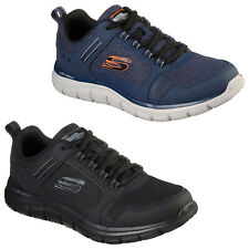 Skechers Mens Sports Trainers Track - Knockhill Gym Running Leather Mesh Shoes