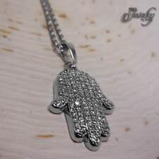 Small Silver CZ Crystal Hamsa Necklace