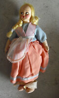 """Vintage 1950s Jointed Cloth Blonde Girl Character Doll 8 1/4"""" Tall"""