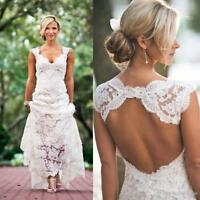 Bohemian Lace Beach Wedding Dress Formal Long Backless Bridal Gowns Plus Size