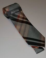 Kenneth Cole Reaction Tie Scottish Fold Plaid Gray Orange New