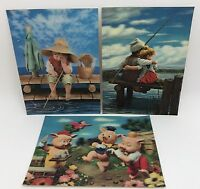 Lot of 3 Vintage 3D Lenticular Postcard Greeting Cards, 3 Pigs, Fisherman (RF689