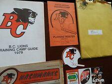 1979 BC Lions training camp guide mailorder envelope sticker &schedule +insert +