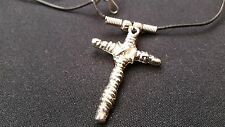 """Stainless Steel Silver Cross Crucifix Pendant Necklace on a 20"""" Black Cord"""