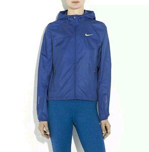 Womens Nike Blue Shield Hood Running Jacket Size - Small; Large