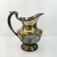 Vintage Wallace Bros Silverplate Water Tea Pitcher Etched Letter R