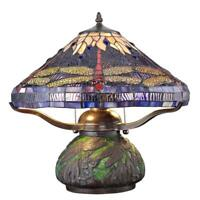 tiffany dragonfly 14 in. bronze table lamp with mosaic base | stained glass desk