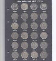 Deutschland - Set 76 x 2 DM Deutsche Mark Konrad Adenauer 1969 - 1987 KOMPLETT!!