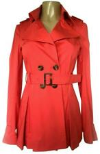 Patrizia Pepe Trench Coat Overcoat Jacket Double Breasted Belted Red Coral 42 S