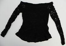 Material Girl Juniors Top Stretch Lace 3/4 Sleeve Peplum Shirt Caviar Black M