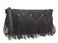 Madden Girl Handbag Clutch Black Fringe Large Wrislet Purse New $54