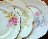 "3 Vintage Mismatched China 7.75"" Salad Plates -  Florals w/ Scallops & Gold Trim"