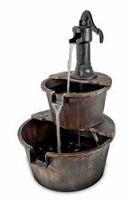 Water Fountain Barrel With Pump Bronze Soothing Water Sounds Garden or Indoors