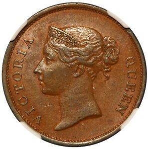 1845 Straits Settlements 1 One Cent Copper Coin - NGC MS 61 BN - KM# 3