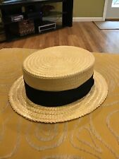 VTG ANTIQUE EDWARDIAN Straw hat Boater skimmer CHURCHILL size 7 NICE RARE