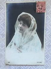 Lovely French Lady veiled c.1906 RPPC Original Vintage Postcard