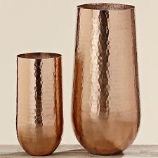 2er Set Vase Ranu 35 + 50cm Aluminium Kupfer Bodenvase Alu Dekovase Gold Neu