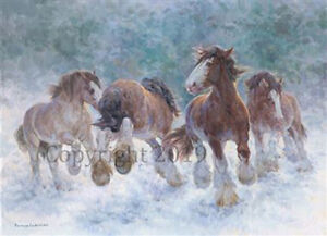 Heavy Horses playing Christmas Cards pack of 10 by R S Welch. C582X
