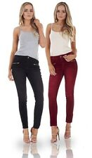 Ladies Skinny Leg Cords Jeans Womens Stretch Zip Slim Corduroy Pants