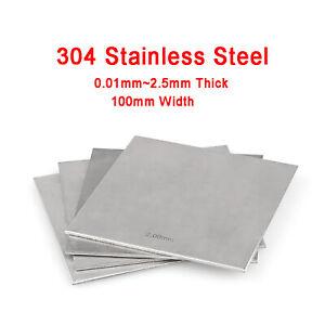 304 Stainless Steel Sheet Plate Board Metal Sheet 0.01mm~2mm Thick, 100mm Width