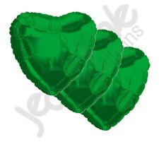"3 pc - 18"" Solid Green Heart Balloon Wedding Baby Bridal Shower Birthday Luau"
