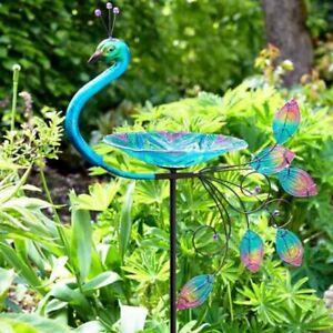 Peacock Glass Bird Bath Stake Hand Painted Garden Ornament 83cm x 25cm Outdoor